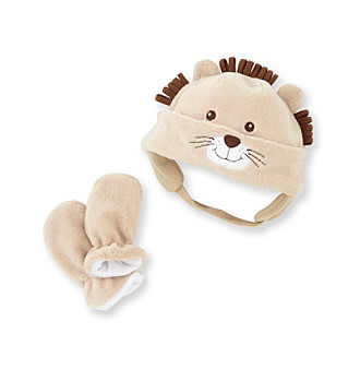 Cuddle Bear® Baby Boys' Tan 2-pc. Lion Hat and Mitten Set