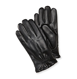 Isotoner® Men's Black Leather Gloves with Partial Gather