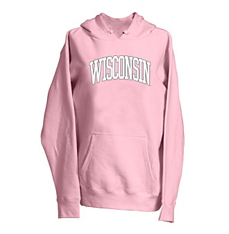 Look pretty in pink while getting into the spirit of gameday in this sporty, pullover hoodie, great casual attire for alumni and fans of all ages. Go Badgers!