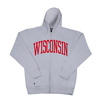 J. America® Men's Oxford Wisconsin Full-Zip Arch Logo Hoodie