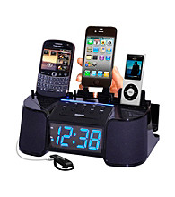 Dok 4-Port Smart Phone Charger with Alarm Clock Radio