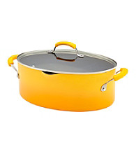 Rachael Ray® Porcelain II 8-Quart Yellow Covered Oval Pasta Pot with Pour Spout