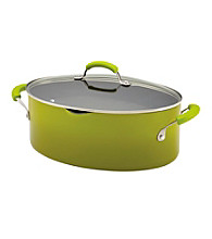 Rachael Ray® Porcelain II 8-Quart Green Covered Oval Pasta Pot with Pour Spout