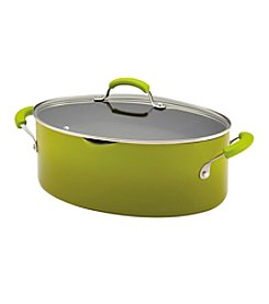 Rachael Ray® 8-qt. Green Porcelain II Covered Oval Pasta Pot with Pour Spout