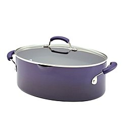 Rachael Ray® Porcelain II 8-qt. Purple Covered Oval Pasta Pot with Pour Spout
