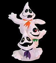 3-Stacked Inflatable Lighted Happy Ghosts
