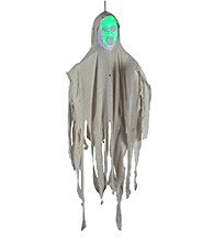 4' Hanging Face Out White Ghost with Green Face