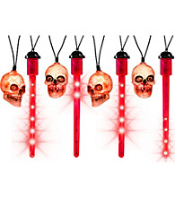 Set of 8 Red LED Blood Drip Lights with Skulls