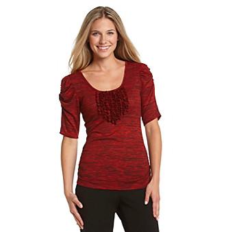 AGB® Space-Dye Ruffled Sweater