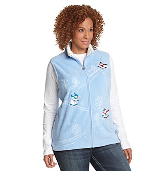 Breckenridge® Plus Size Skiing Snowmen Fleece Vest