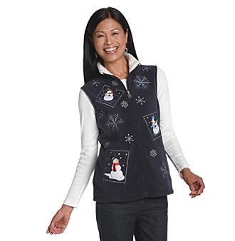 Breckenridge® Petites' Patchwork Snowmen Fleece Vest
