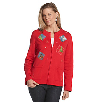 Breckenridge® Petites' Winter Collage Fleece Cardigan