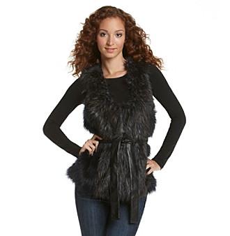 Fever™ Faux Fur Tie Waist Vest