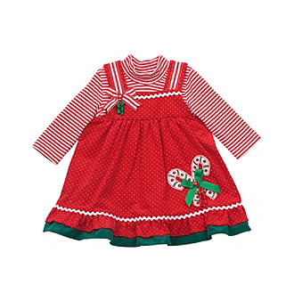 Rare Editions® Baby Girls' 2-pc. Red Candy-cane Jumper Set
