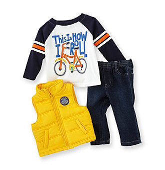 Kids Headquarters® Baby Boys' Blue/Yellow 3-pc. Biking Vest Set