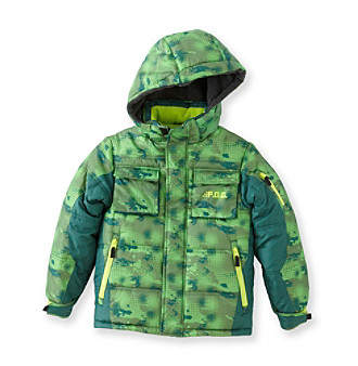 London Fog® Boys' 4-16 Green Plaid Digi Bubble Jacket