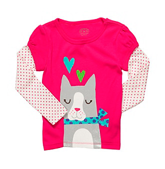 Carter's® Girls' 2T-6X Fuschia Long Sleeve Kitty Tee