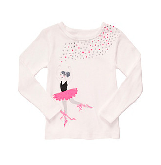 Carter's® Girls' 2T-6X White Long Sleeve Ballerina Tee