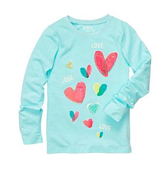 OshKosh B'Gosh® Girls' 4-6X Blue Long Sleeve Hearts Tee