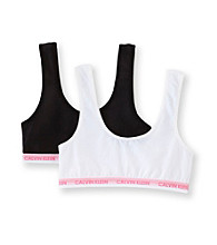Calvin Klein Girls' Black/White 2-pk. Sports Bras