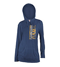 Soffe® Juniors' West Virginia Navy Burnout Hoodie