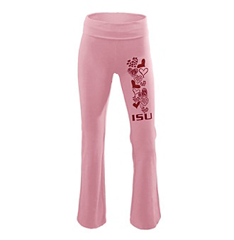 Soffe® Juniors' Iowa State Pink Glitter Screen Yoga Pants
