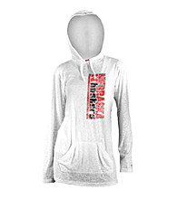 Soffe® Juniors' Nebraska White Burnout Hoodie