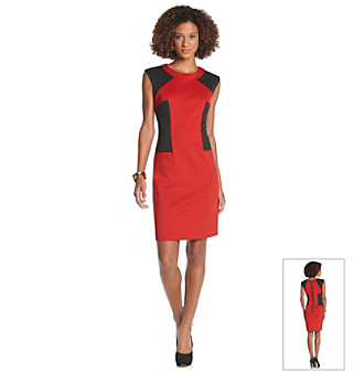 R & M Richards® Petites' Scuba Colorblock Dress