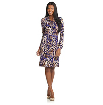 Anne Klein® Animal-Print Button-Front Belted Polo Dress