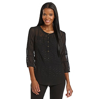 Nine West Vintage American Collection® Petites' Eyelet Peasant Top