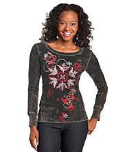 Oneworld® Petites' Mineral Wash Grey Snowflakes Top