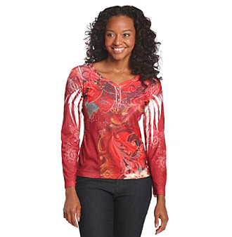 Oneworld® Petites' Red Poinsettia Holiday Henley Top