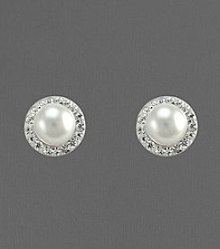 14K Yellow Gold Cultured Pearl & Crystal Button Earrings
