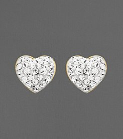 14K Yellow Gold Crystal Heart-Shaped Button Earrings