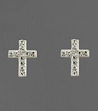14K Yellow Gold Crystal Cross Earrings