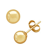 14K Yellow Gold Polished 6MM Ball Stud Earrings