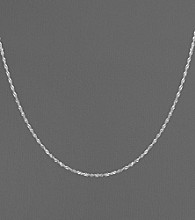 14K White Gold Twisted Singapore Chain Necklace