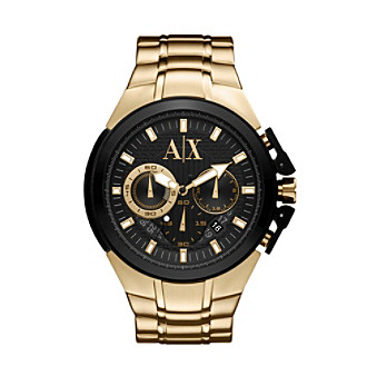 A|X Armani Exchange Men's Gold Tone Sport Watch with Black Top Ring & Black Dial with Gold Tone Markers