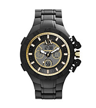 A|X Armani Exchange Men's Black Silicone Wrapped Watch with Gold Tone Details & an Anadigi Display