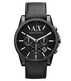 A|X Armani Exchange Men's Black Leather Watch with Black Case & Black Dial
