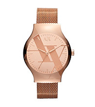 A|X Armani Exchange Women's Rose Gold Tone Watch with Mesh Bracelet & Logo Mirror Dial