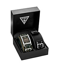 Guess Silver Bold Buckled Cuff Watch - Interchangeable Set