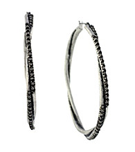 Jessica Simpson Silvertone Twist Hoop Earrings