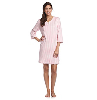 KN Karen Neuburger Henley Sleepshirt - Glass Slipper Stripe