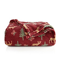 LivingQuarters Micro Cozy Lodge Deer Throw