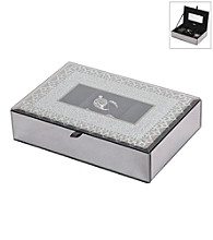 Mele & Co. Cameo Mirrored Glass Lace Motif Jewelry Box