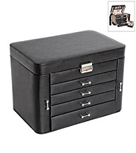 Mele & Co. Black Bonded Leather Alexandra Fashion Four Drawer Jewelry Box