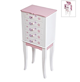 Mele & Co. Chloe Girls Pink And White Jewelry Armoire