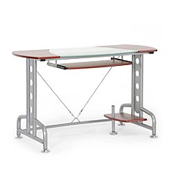Baxton Studios Dahan Cherry Modern Computer Desk with CPU Stand