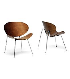 Baxton Studios Set of 2 Reaves Walnut Effect Mid-Century Modern Accent Chairs